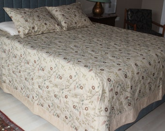 Beige Chenille Bed Cover Set,  Beige Floral Fabric Blanket, Floral Chenille Bed Cover, 3 Piece Set Bed Cover