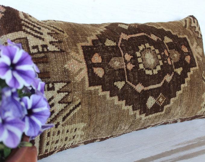 12x23  Lumbar Rug Pillow Cover, Vintage Rug Pillow, Ethnic Pillow Cover, Brown-Beige Carpet Pillow Cover, Handwoven Rug Pillow,