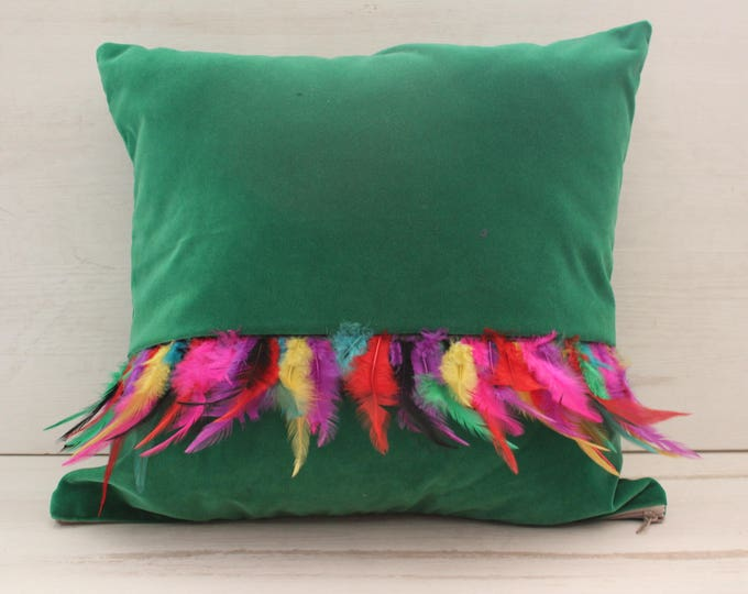 18x18 inch Green Velvet Pillow Case with Pink Fur,Decorative Velvet Pillow Cover,Green Velvet Pillow Case