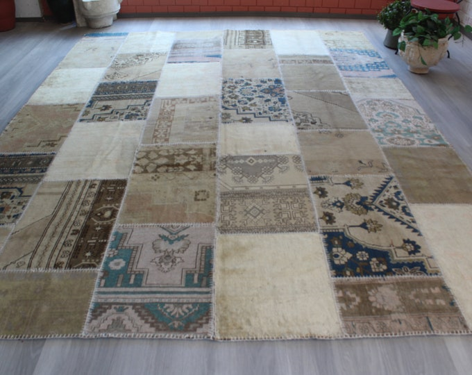 "Large Beige Rug, Large Vintage Rug, Large Patchwork Rug, Beige-Blue Area Rug, Turkish Wool Rug, Oversized Rug / 8'8""x11'6"" ft"