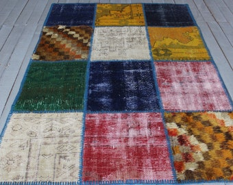 Multicoloured Handmade Patchwork Rug, Ethnic Decorative  Rug, Turkish Patchwork Distressed Rug,Low Piled Patchwork Rug