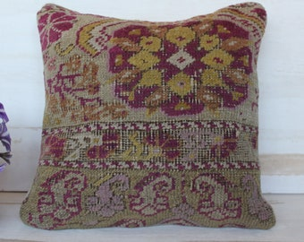 18x18 inch Vintage Oushak Rug Pillow Cover, Carpet Pillow Case, Bohemian Pillow Cover, Burgundy -Beige Pillow Case, Turkish Carpet Pillow