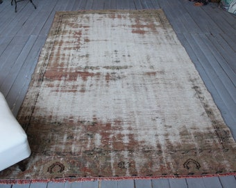 """5'0"""" x 8'6"""" ft Vintage Distressed Low Piled Wide Turkish Rug Runner, Contemporary Rug Runner"""