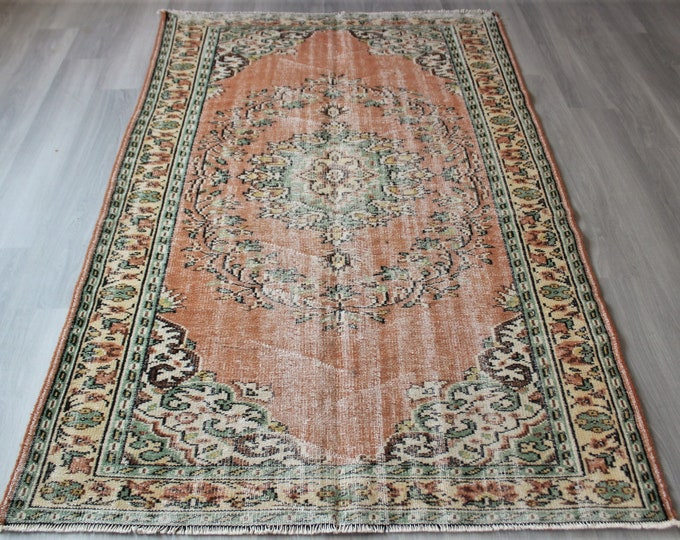 "5'2""x8'3"" ft Vintage Rug, Retro Rug, Eclectic Rug, Large Turkish Rug, Vintage Area Rug, Vintage Turkish Rug / C-4058 / 5'2""x8'3"" feet"
