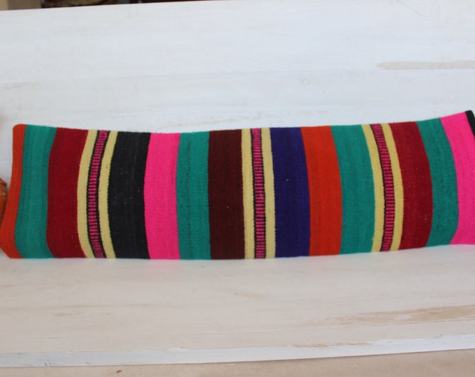 12x39.5 inch Vintage Kilim Lumbar Pillow Cover,Ethnic Striped Pink Pillow Case,Bohemian Coloured Pillow Case