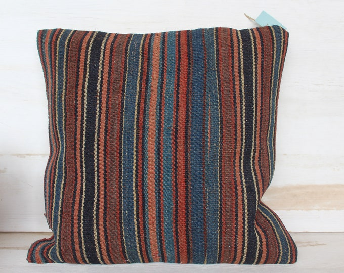 16x16 inch Vintage Kilim Pillow Case, Striped Kilim Pillow Cover, Bohemian Pillow, Ethnic Kilim Pillow