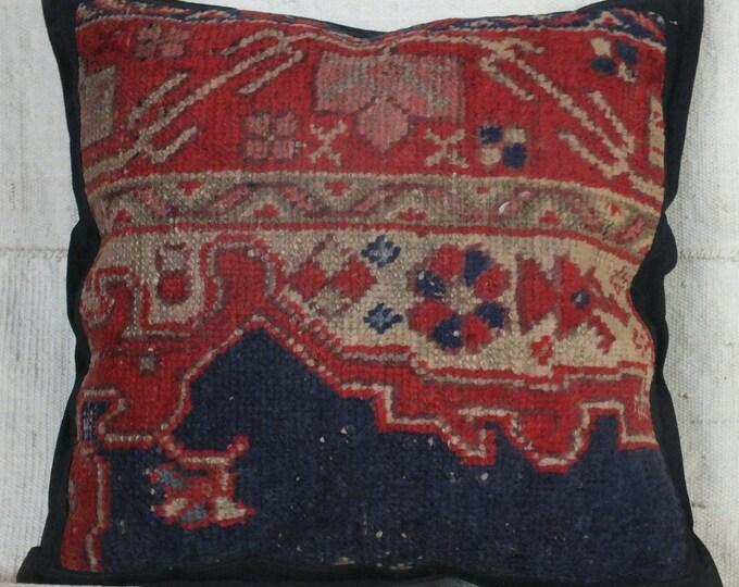 17x17 Pillow Case, Turkish Rug Pillow, Boho Pillow