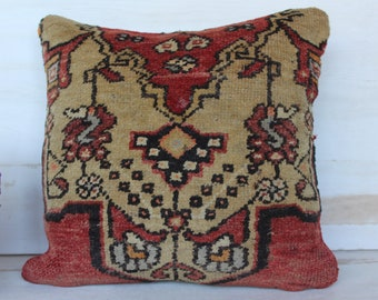 16x16 inch Carpet Pillow Case, Vintage Rug Pillow Cover, Wool Pillow, Turkish Rug Pillow Case, Red  Rug Pillow, Decorative Pillow