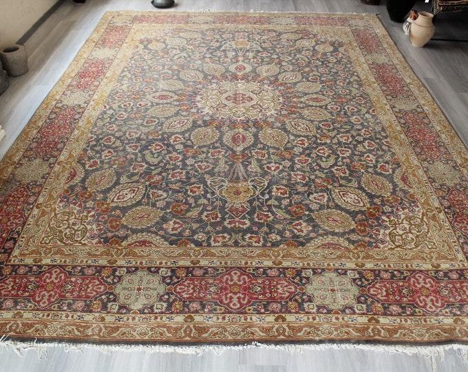 """Oversized Turkish Rug, Large Vintage  Rug, Large Oriental Rug, Vintage Oushak Rug  / C-4312  /  10'2""""x13'4"""" ft"""