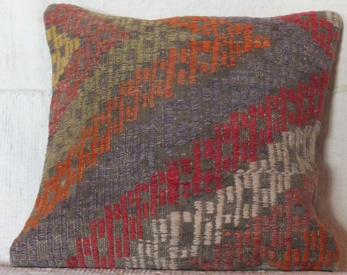 15x15 Pillow Case, Turkish Kilim Pillow, Tribal Pillow Cover