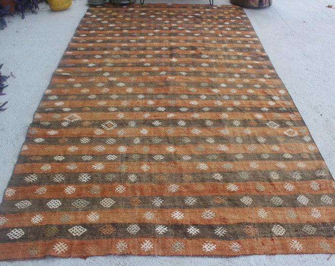 "5'6""x10'2"" ft  Vintage Kilim Rug, Vintage Striped Kilim, Ethnic Turkish Kilim, Bohemian Kilim, Large Turkish Kilim"