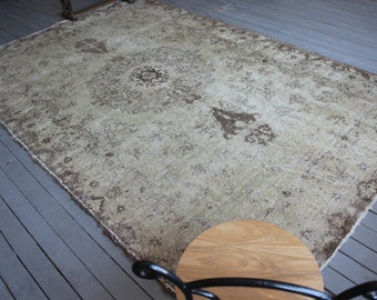 "6'7""x10'3"" Vintage Beige OUSHAK Rug, Distressed Anatolian Rug, Beige-Brown Turkish Area Rug"