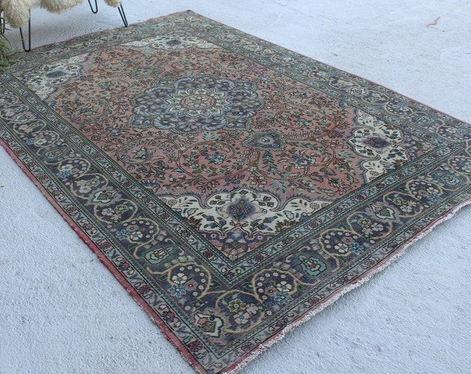 "6'5""x9'6"" ft  Vintage Area Rug, Large Turkish Area Rug, Hereke  Rug, Large Anatolian Rug, Vintage Classic Rug"