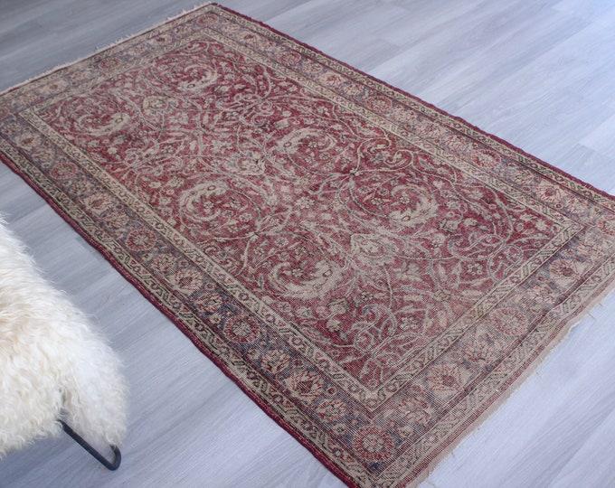 """3'9""""x6'9"""" ft Vintage Rug, Vintage Kayseri Rug, Traditional Area Rug, Classic Turkish Rug"""