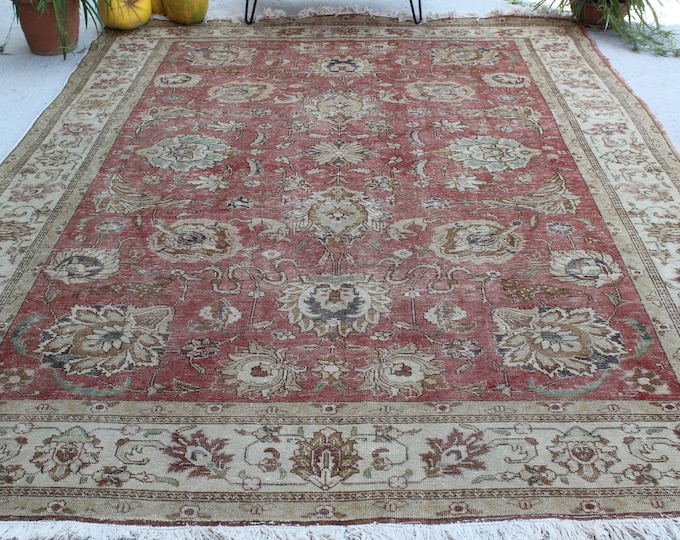 "7'5""x10'7"" ft  Vintage OUSHAK Rug, Large Area Rug, Large Vintage Area Rug, Beige-Terracotta Rug, Traditional Turkish Rug, Large Turkish Rug"