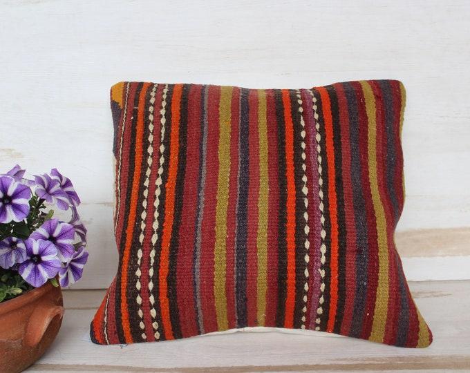 16x17 inch KILIM Pillow Case, Ethnic Kilim Pillow Cover, Vintage Striped Kilim Pillow, Turkish Kilim Pillow Case, Ethnic Pillow Case