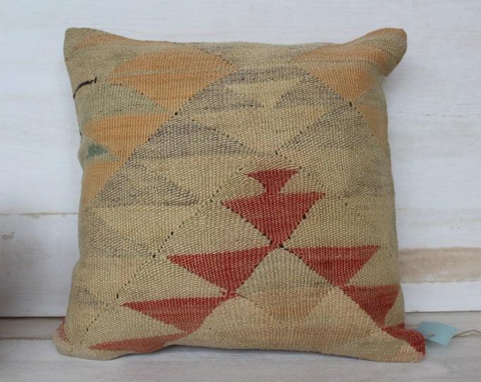 16x16 inch Vintage Kilim Pillow Case, Aztec  Kilim Pillow Cover, Bohemian Pillow, Ethnic Kilim Pillow,  Beige  Kilim Pillow