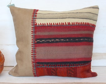 Patchwork Kilim Pillow Case, Red Kilim- Beige Suede Pillow Case, Ethnic Patchwork Cover, Decorative Pillow Case, Red Kilim Pillow