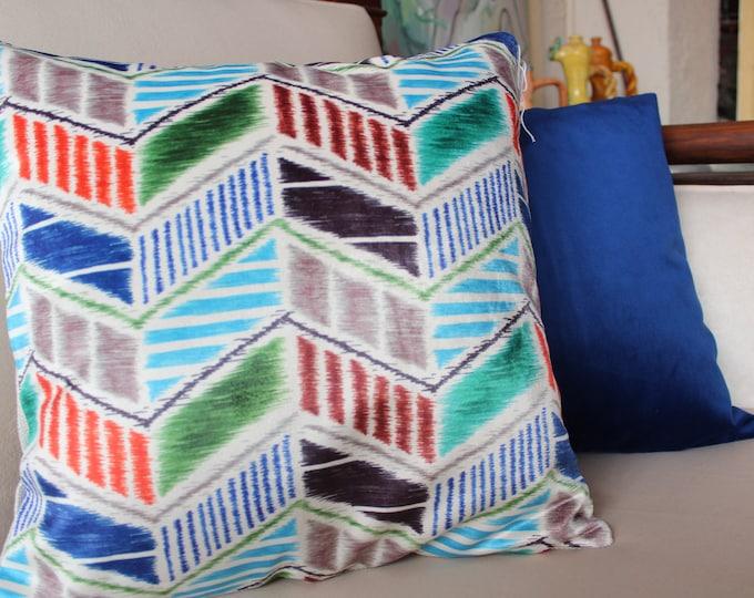 17x17 inch PAIR Blue -Ikat Velvet Pillow Case,Decorative Pillow Cover