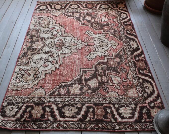 "3'9""x5'8"" ft Vintage Rug, Vintage Anatolian Rug, Piled Turkish Rug, Ethnic Area Rug, Bohemian Red Rug, Turkish Wool Rug, Handwoven Carpet"