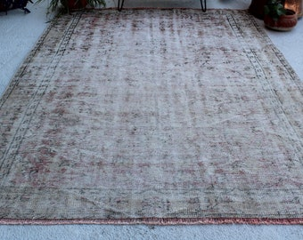"6'2""x9'2"" ft  Vintage Oushak Rug, Distressed Turkish Rug, Low Piled Anatolian Rug,Large Area Rug, Large Oushak Rug, Large Turkish Rug"