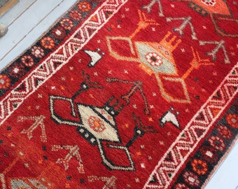"3'1""x7'8""ft  RUNNER Vintage Anatolian Red Runner Rug, Vintage Turkish Red Piled Organic Wool Hallway Carpet"