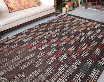 "5'8""x 9'2"" Area Kilim Rug,Vintage Dark Brown Kilim, Ethnic Bohemian Handwoven Wool Kilim,Turkish Tribal Nomadic Kilim Rug"