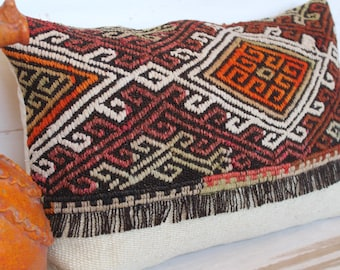 15x23 inch  Kilim  Pillow Case, Ethnic Pillow Cover, Bohemian Kilim Lumbar Pillow Cover , Handwoven Wool Pillow Case