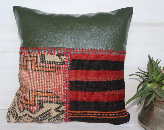 Ethnic Patchwork  Green Leather-Kilim Pillow Case, Bohemian Patchwork Pillow Cover, Handmade Pillow Case