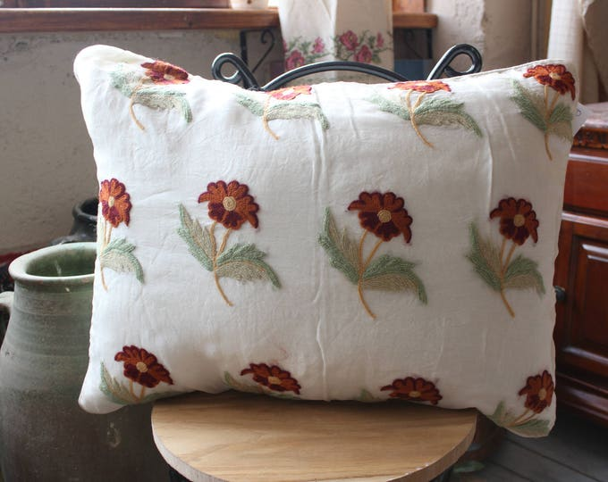 20x27 inch Silk and Organza Embroidered Pillow Case,Suzani Ethnic Pillow Cover