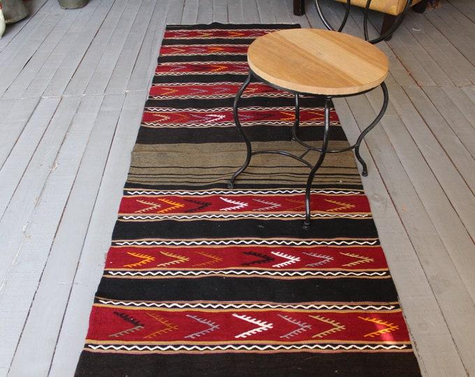 "2'5""x8'5""feet  Vintage Bohemian Kilim Runner, Ethnic Striped Kilim Rug, Red Kilim Runner"