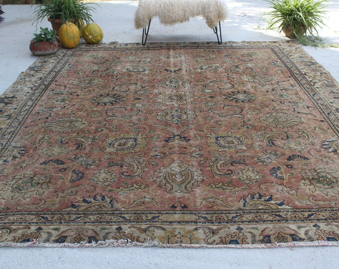 "8'9""x11'4"" ft Large Area Rug, Vintage Kayseri Rug, Vintage Large Turkish Rug, Low Piled Area Rug, Handwoven Area Rug, Traditional Area Rug"