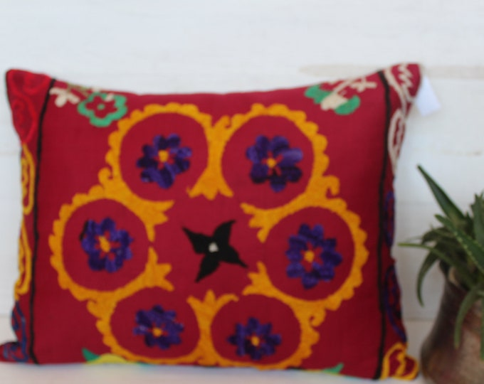 16.5x21.5 inch Vintage Red Suzani Pillow Case, Bohemian Ethnic Suzani Pillow Cover, Decorative Red Embroidered Pillow Case