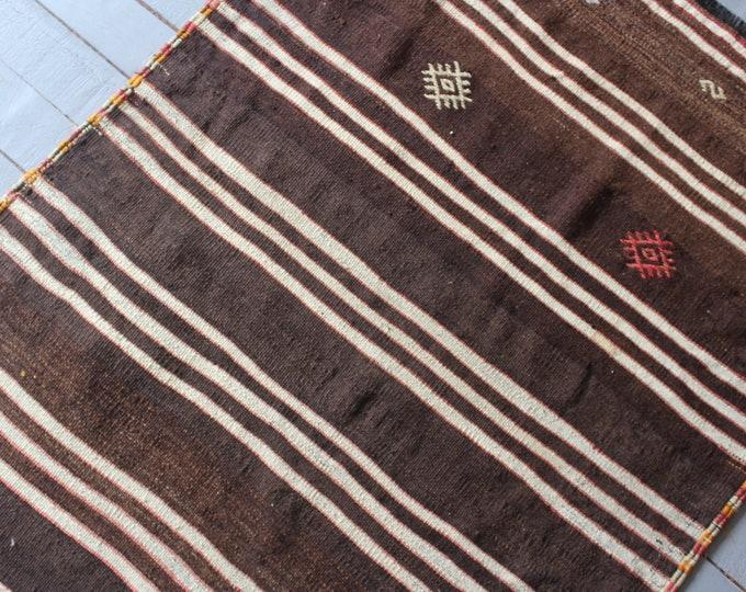 """3'2""""x4'1"""" Vintage Turkish Kilim Rug, Ethnic Kilim Rug, Bohemian Kilim Rug, Area Kilim Rug, Decorative Kilim Rug"""