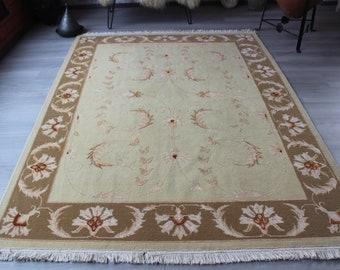 Silk-Wool Rug, Oushak Rug, Turkish Area Rug, Beige Oushak Rug, Beige Classic Design Rug, Handwoven Silk-Wool Rug, Beige Area Rug