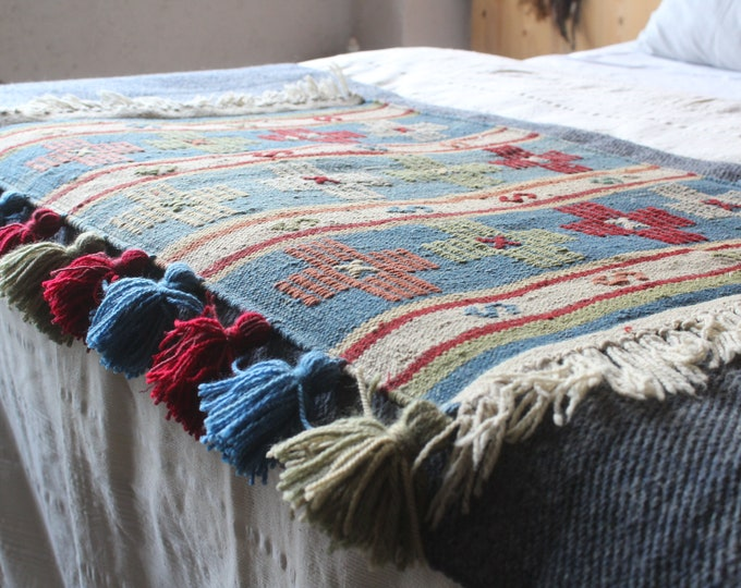 28x88 inch Vintage Kilim Throw, Ethnic KILIM Throw, Bohemian Throw, Decorative Throw, Handwoven Wool Throw,Decorative KILIM Throw