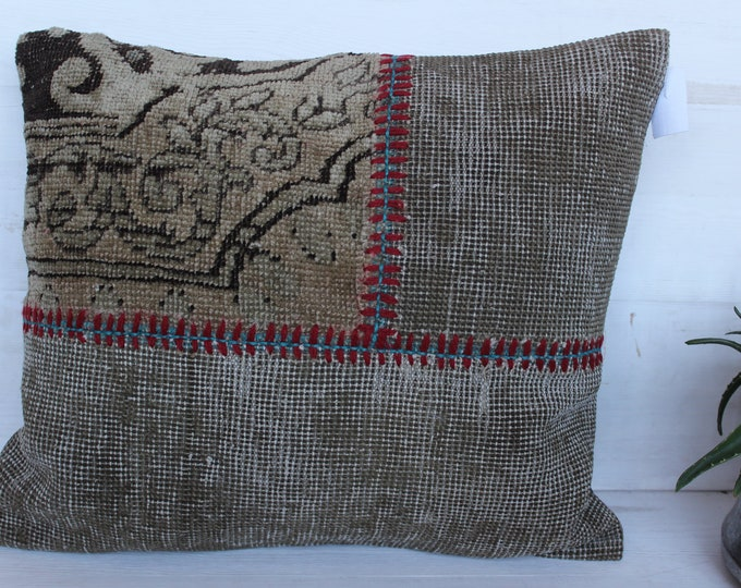 18x20 inch Ethnic Patchwork Rug Pillow Case, Bohemian Pillow Cover, Patchwork Low Piled Rug  PILLOW ,Sand colour Rug Pillow