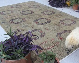 """7'5""""x11'7""""  Vintage Oushak  Rug, Large Area Rug, Vintage Turkish Rug, Turkish Area Rug, Traditional Turkish Rug, Vintage Area Rug"""