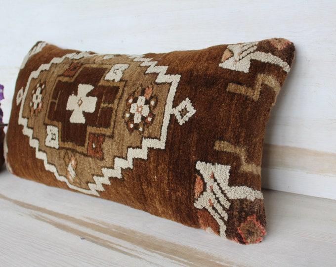 13x26 inch Carpet Pillow Case, Vintage Carpet Pillow Cover, Ethnic Brown Wool Pillow Case, Bohemian Pillow Cover