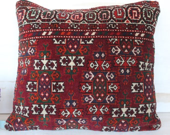 20x20  inch Vintage BUKHARA Rug Pillowcase, Ethnic Red Rug  Pillow Cover, Turkish - Red Rug Pillow Cover, Turkish Pillow Cover