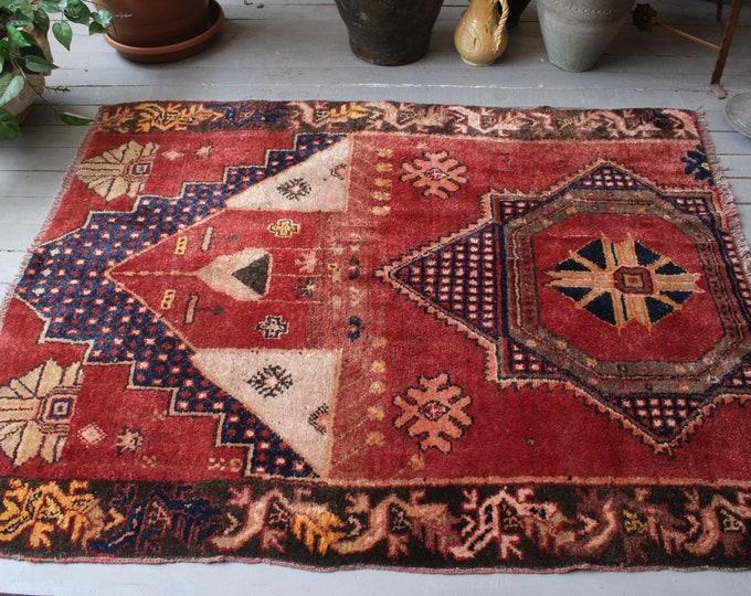 "4'x5'2"" ft  Vintage Rug, Vintage Anatolian Rug, Ethnic Rug, Bohemian Red Rug, Small Turkish Rug, Piled Wool Rug, Vintage Red-Blue Rug"