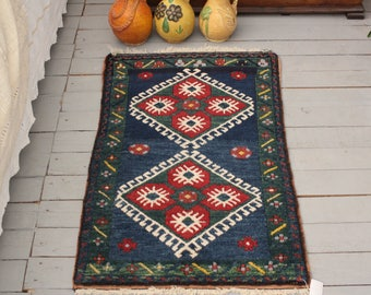 "1'5""x3'1"" Vintage Blue Handwoven Small Rug, Ethnic, Tribal Turkish Small Carpet"