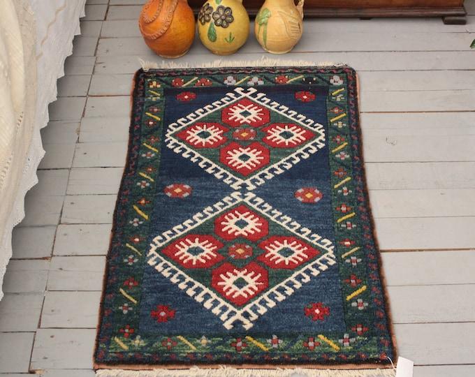 "1'5""x3'1"" Vintage Blue Handwoven Small Rug, Ethnic, Tribal Turkish Small Carpet"