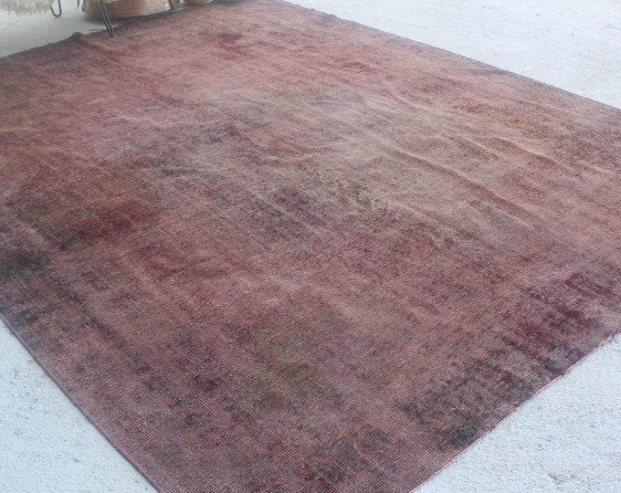"7'8""x10' ft  Vintage Over Dyed Rug, Large Turkish Rug, Large Area Rug, Red Low Piled Area Rug, Handwoven Wool Rug, Decorative Rug"