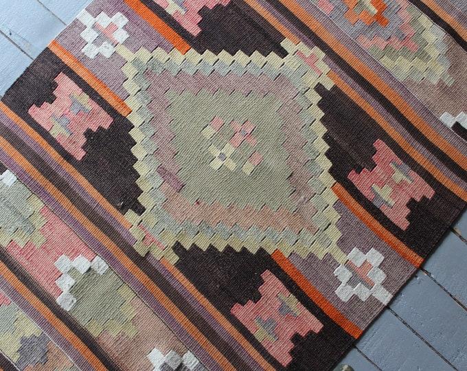 """2'5""""x4'3"""" Vintage Adiyaman KAHTA Kilim Rug, Bohemian Kilim Rug, Aztec Design Ethnic Kilim Rug"""