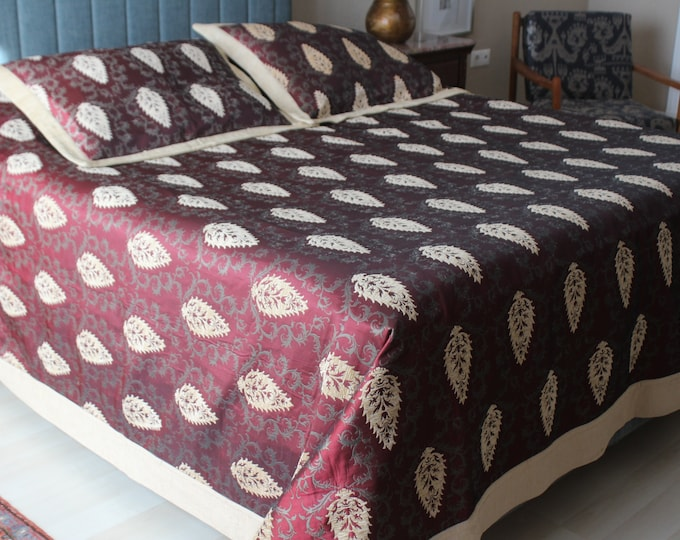 Bed Cover Set, Double Sided Chenille Bed Cover Set ,  Special Beige -Burgundy  Bed Cover ,  Ottoman Beige Bed Cover