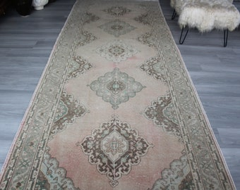 RUNNER, Wide Pale Runner, Wide Vintage Rug Runner , Vintage Turkish Rug Runner, Beige Oushak Rug Runner,