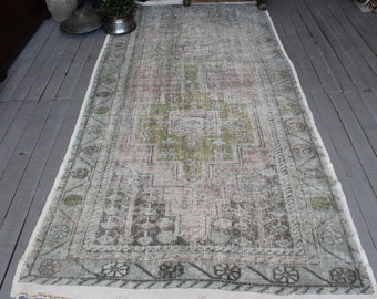 "4'1""x8'5"" ft   Vintage  Pale Pink- Beige OUSHAK Rug, Turkish Anatolian Rug, Decorative Beige Rug"