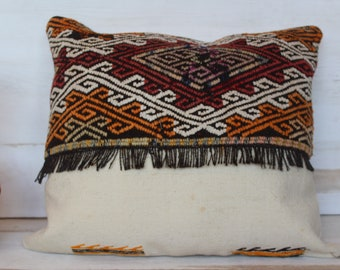 17x20 inch KILIM Pillow Case, Ethnic KILIM  Pillow,Beige Wool Pillow Cover, Handwoven Pillow, Fringed Kilim Pillow Case