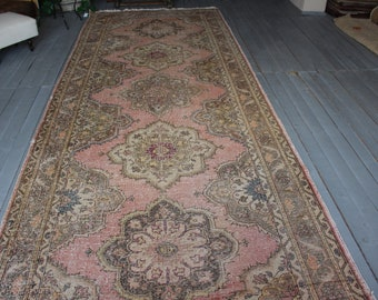 "4'9""x12'5"" ft  Vintage OUSHAK Runner Rug, Distressed Runner Rug, Turkish Wide  Runner Rug"